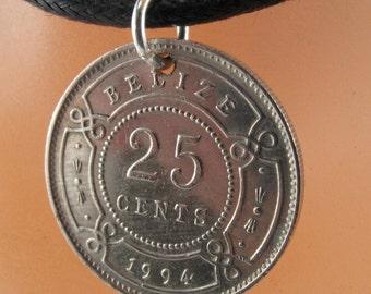 BELIZE  Necklace. COIN jewelry. Belize Charm.  British Honduras Coin.  No.00965