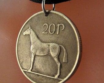 IRISH COIN NECKLACE . ireland horse jewelry. Ireland Harp Pendant . coin jewelry. mens key ring. pony pendant. coin No.00879