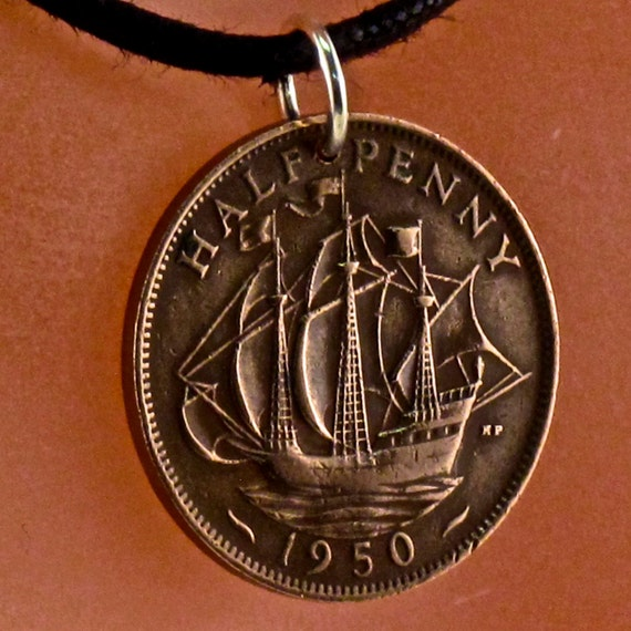 Brexit. UK coin necklace . England charm ship boat sailing . for him CHOOSE YEAR .  No.00299