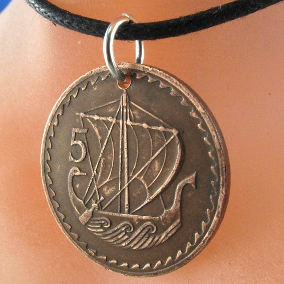 ancient boat NECKLACE.  Cyprus ship COIN  jewelry . greek turkey.  charm.  sail boat.. mens jewelry.  No.001112