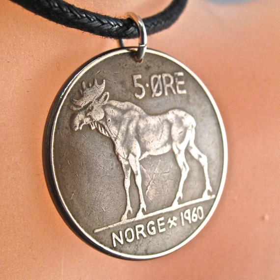 moose necklace. mans necklace. hunter gift . NORWEGIAN charm. Norway COIN NECKLACE jewelry pendant . moose. animal coin. 5 ore.  No.001148