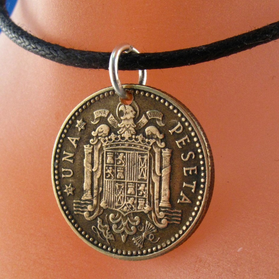 spanish coin necklace spain coin jewelry una 1 peseta coin