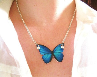 Bright Blue Butterfly Necklace Teal Monarch with Rhinestones