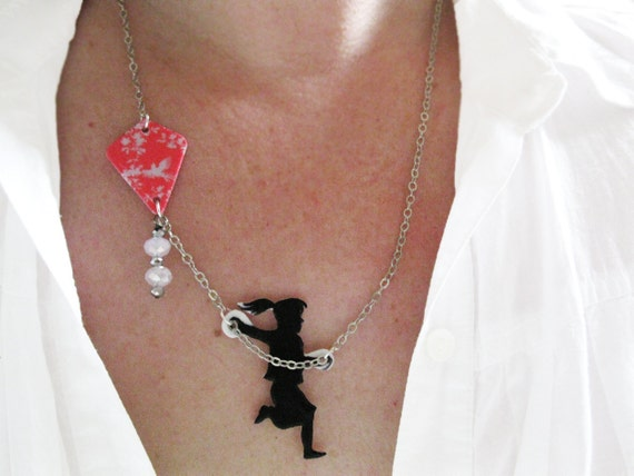 Necklace Woman Jewelry Girl Flying a Kite Funky and Unique Black Silhouette Pink