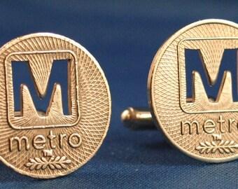 Sale... WASHINGTON DC Metro Token M-Cut Cufflinks