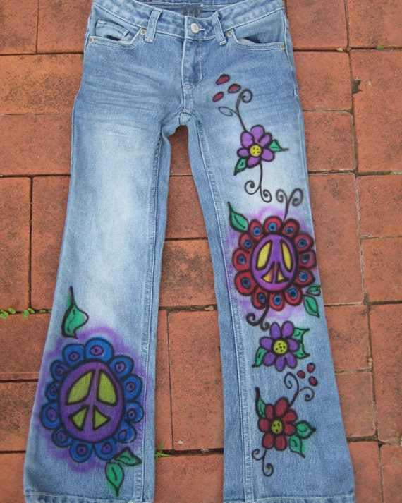 Items Similar To Hand Painted Custom Peace Jeans For Women