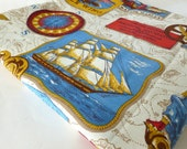 Nautical Bedspread Sailing Ships and Maps Twin Size in Red, White, Blue and Gold by Sears Boys Bedroom Decor