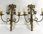 Pair Wall Sconces Vintage Brass Antique Victorian Empire Revival 1900s Nouveau 2 Arms