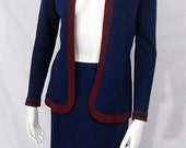Vintage 1960s Adolfo for Saks Fifth Ave. Navy & Burgundy Striped Skirt Sweater Set S / M