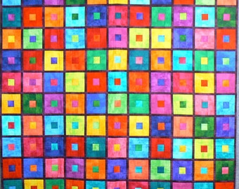 Patchwork Quilt, Quilted Wall Hanging, Youth Bed Quilt, Multicolored Quilt, Lap Quilt, Modern Quilt, Quilted Bedspread,