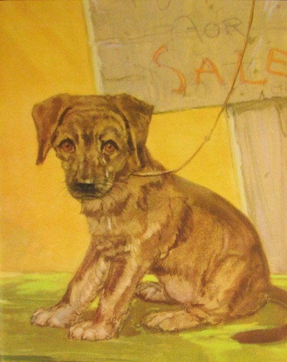 German Shepherd Puppy Dog Print Diana Thorne Vintage Original Illustration Picture 1934 Ready to Frame Wall Decor