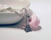 Pink French Macaron with an Eiffel Tower Necklace