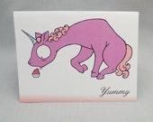 Unicorn Eating a Cupcake Card