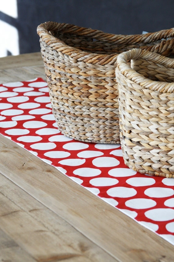 Red and White Table Runner: Red with White Dots Fabric Table Runner