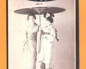 Beautiful Japan Japanese old antique vintage two girls geisha postcard