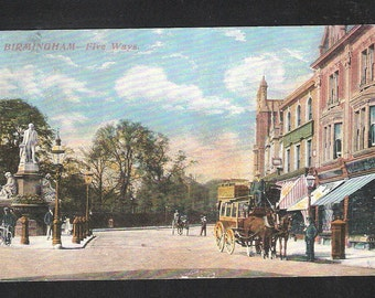 A Birmingham Five Ways horse transport  art drawn England antique English vintage postcard