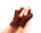 Earth Brown Fingerless Gloves, Crochet Laces with Bordo Flowers