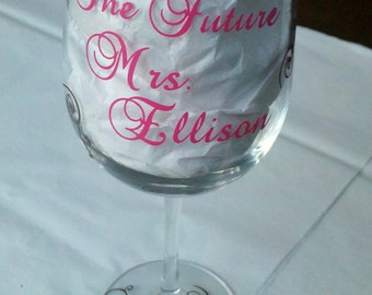 Personalized 'The Future Mrs'  glass, elegant bridal shower or engagement gift idea for the classy bride to be