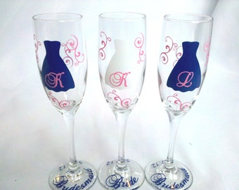 3 Bride and Bridesmaids champagne glasses, Personalized wedding flutes.  Bridesmaid and Maid of honor gift. Soft pink and navy blue.