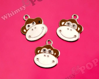 Brown Monkey Face Head Enamel Silver Tone Charms, Monkey Head Charms, 10mm x 24mm (4-1F)