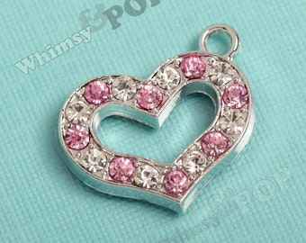 1 - Pink Heart Love Glass Crystal Rhinestone Pendant Charm, Heart Charm, 18mm x 24mm (4-2D)