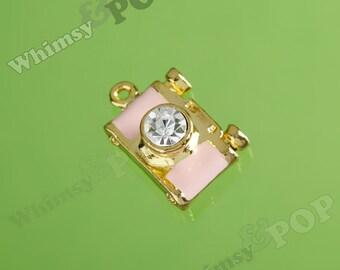1 - Pink Photographer Shutter Bug Rhinestone Gold Tone Camera Pendant, Camera Charm, 16mm x 20mm  (1-4H)