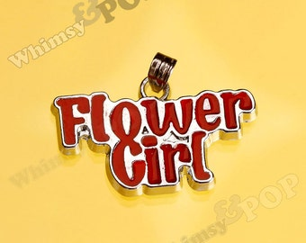 1 - CLEARANCE SALE Red Wedding Flower Girl Pendant Silver Charm, Flower Girl Charm (3-3B)