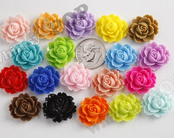 100 - Mixed Colors Cabbage Rose Cabochons, Flower Cabochons, Flower Shaped, Flatback Flowers, Flat Back Cabochons, Bulk 18mm x 16mm (R3-003)