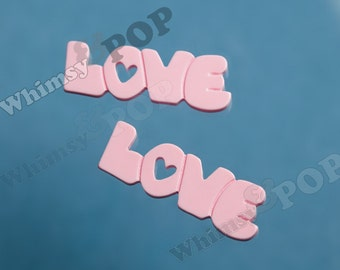 2 - Light Pink Word Type LOVE Text Resin Cabochons, Love Cabs, Love Cabochons, Pink Love Flatbacks, 38mm x 13mm (5-4B)