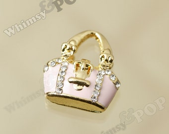 1 - 3D Kawaii Tote Purse Handbag Pink and Goldtone Enamel and Crystal Rhinestone Pendant Charm (3-4G)