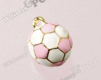 1 - 3D Pink and White Soccer Ball Goldtone Kawaii Charm, Soccer Charm, 17mm  (1-2J)