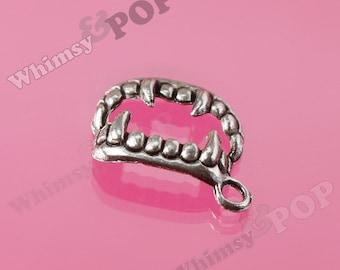 Teeth Vampire Fangs Tibetan Silver Pendant Charms, Teeth Charms, Vampire Charms, Fangs Charm, Halloween Charms, 17mm x 12mm (2-3G)