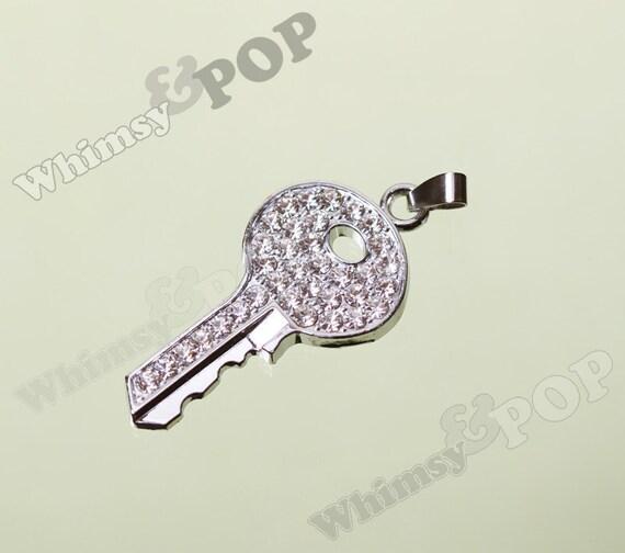 1 - Bling Rhinestone Crystal Key Charm, Key Charm Pendant, 50mm  (2-2G)