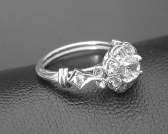 Gold Ring, pure natural white Ceylon Sapphires handmade Art Deco Engagement ring  P-034