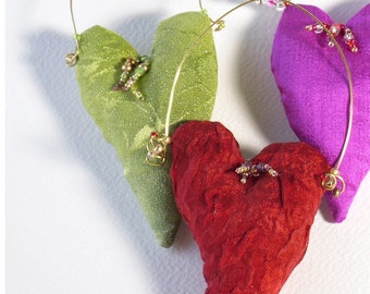 Heart Ornaments Silk Beaded Set of Three Your Choice