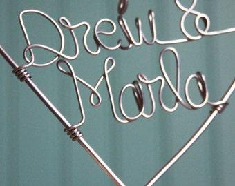Custom Wire Heart Names Wedding Cake Topper - Classic Design by Deliziare