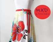 Bohemian Strapless White Sexy Dress, Convertible dress, Skirt & Poncho, orange flower  - Made to order - MixeDesigns