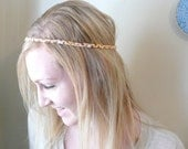 braided fabric headband, natural neutral colors - tie back style