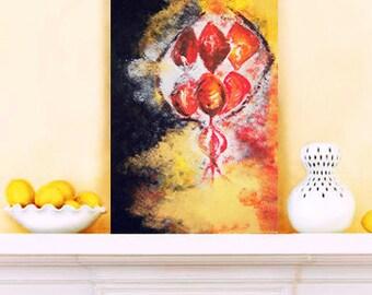 Abstract painting - modern original wall art,  wall decor, home decor, office decor - 31cm x 61cm - Night Lantern