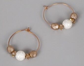 """Rose Gold Hoop Earrings; Beaded Hoop Earrings; Rose Gold Jewelry; Dainty Earrings;1"""" Hoops;Mixed Metal Jewelry;Simple Earrings;Gift Under 20"""