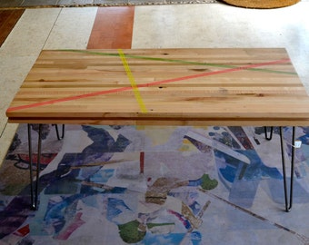 Coffee Table:  Reclaimed Maple W / Hairpin Legs