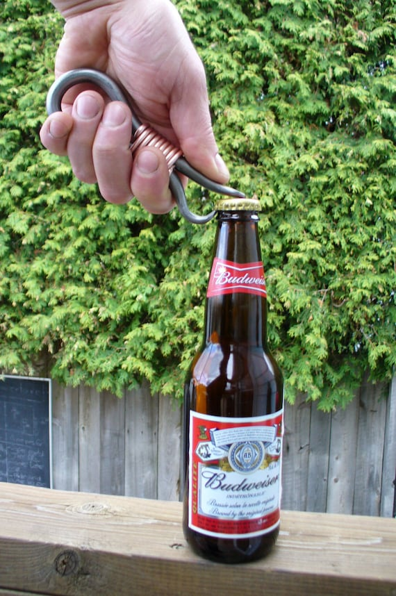 FORGED BOTTLE OPENER  Hand forged and Signed by Blacksmith Naz , Groomsmen gift , Gifts for him , Gifts for Grooms