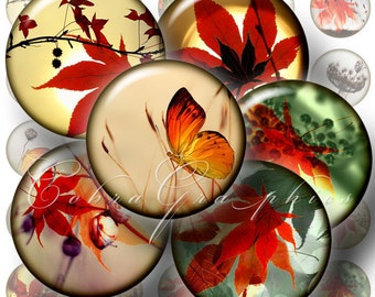 Printable Digital Downloads - Autumn - 20mm, 16mm and 12mm circles - Digital Collage Sheets CG-284 for Jewelry, Crafts