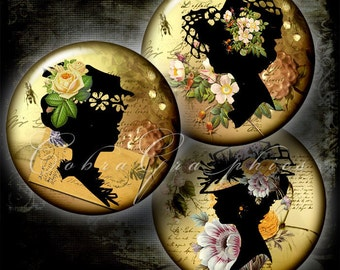 """Vintage Silhouettes - Digital Collage Sheet CG-374 - 1.5"""", 1.25"""", 30mm, 25mm, 1 inch circles for Jewelry Making, Bottle Caps, Crafts"""