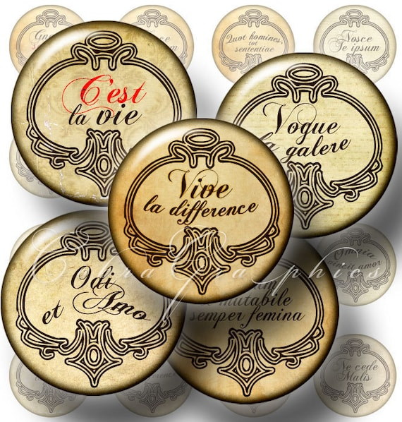 """Digital Collage Sheets - Latin and French Sayings - 1"""" and 25mm circles - Printable Images  for Jewelry Making, Bottle Caps CG-213"""