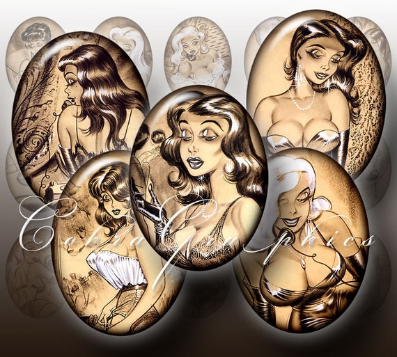 Bill Ward Pin Up - 30x40mm, 22x30 mm - Digital Collage Sheet CG-467 - Oval Cameos - Printable Images - Jewelry Supplies - Instant download