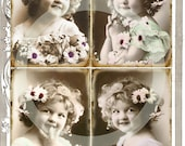 CURLY SUE - 4 Vintage Post Card Scans - Digital download - ATC - Photograph - Postcard