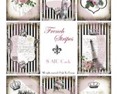 FRENCH STRIPES -  ATC cards with a French Touch and black and white stripes -  Digital download