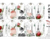 PARIS TAGS NO 1 - Set of 10 French inspired tags - Instant Download - Hangtags- Giftwrapping - Scrapbooking