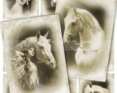 VINTAGE HORSES - Set of 8 atc cards - Horse - Hang tags - scrapbooking - Digital Collage Sheet